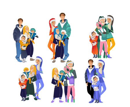 Vector cartoon big family hugging at winter outdoor clothing standing together set. Adult couple, senior parents, grandmother and grandfather, boy and girl teen kids, small baby happy characters Banque d'images - 128169585