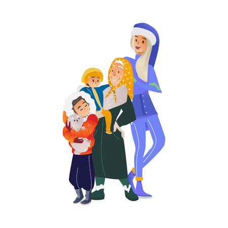 Vector cartoon family hugging at winter outdoor clothing standing together. Adult mother, senior elderly grandmother in headscarf, teen boy with dog and baby boy happy characters Banque d'images - 128169589