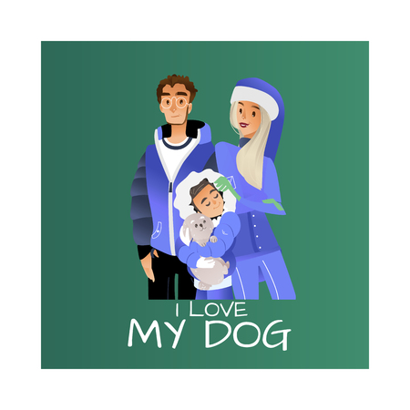 Vector I love my dog inscription poster with cartoon family hugging at winter outdoor clothing standing together. Adult couple young mother father teen boy holding cute puppy in arms happy characters