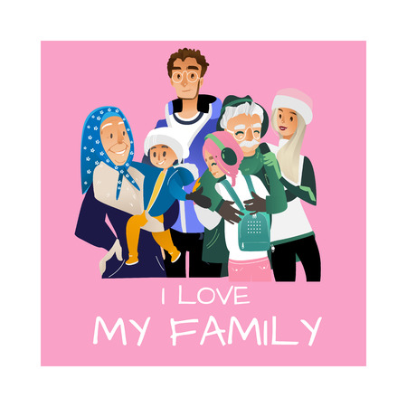 Vector I love my family poster with cartoon big family hugging at winter outdoor clothing standing together. Adult couple, senior parents, grandmother grandfather, boy and girl teen kids, small baby Banque d'images - 128169593