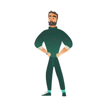 Vector illustration of confident bearded man in green knitted sweater and pants standing with hands in sides and looking forward - isolated young male cartoon character in cold season. 向量圖像