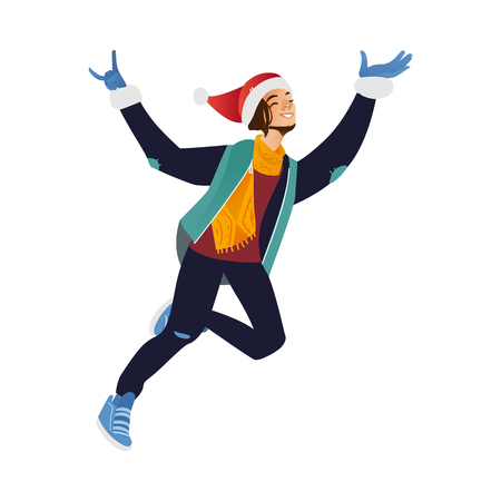 Vector cartoon cheerful young man in santa hat, warm winter clothing - jacket or coat and boots having fun laughing jumping outdoors. Male character with positive emotions