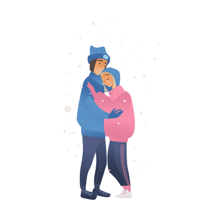 Vector sketch couple walking hugging, holding hands at winter in warm clothing, hat and boots. Young man and woman lovers express care and love, valentines day romantic characters