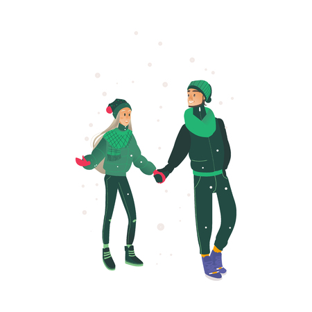Vector sketch couple walking holding hands at winter in warm clothing, hat and boots. Young man and woman lovers express care and love, valentines day romantic characters Standard-Bild - 128169606
