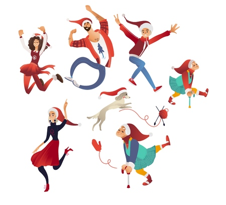 Vector illustration of happy Christmas and New Year celebration - different isolated cartoon family members in festive clothes and Santa Claus red hat having fun jumping and dancing.