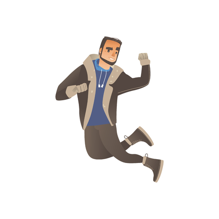 Vector cartoon cheerful young man in warm winter or autumn clothing - jacket or coat and boots having fun laughing jumping outdoors. Male character with positive emotions