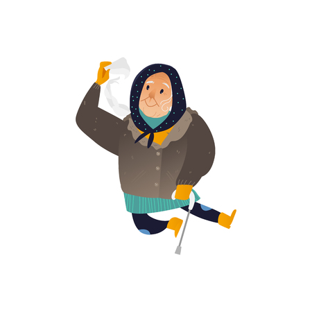 Vector illustration of aged woman in winter clothes jumping and having fun isolated on white background - cheerful grandmother with stick for seasonal design in cartoon style. Banque d'images - 128169617