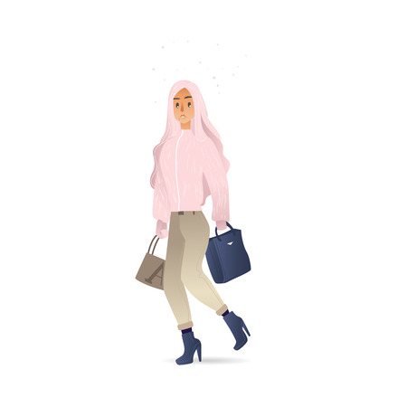Vector sad cartoon young woman, teen girl with long blonde hair in warm winter or autumn clothing - jacket or coat walking with bags outdoors Female character with negative emotion Standard-Bild - 128169623