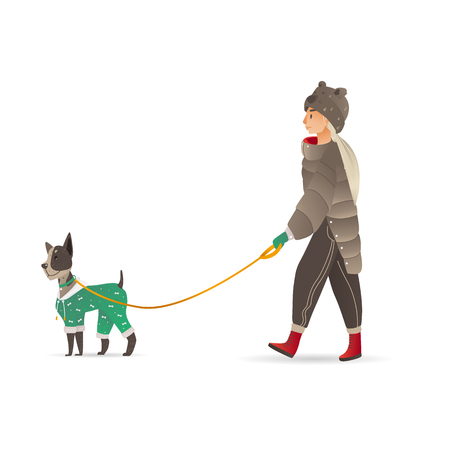 Vector cartoon adult woman in fur coat, long blonde hair walking with dog in costume at winter. Smiling female character walking with puppy pet outdoor at cold weather.