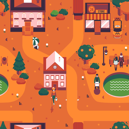 Vector autumn city landscape with people walking on streets with umbrella, couple sitting at street bench under streetlight. Countyside background in orange for game level map design or decoration Illustration