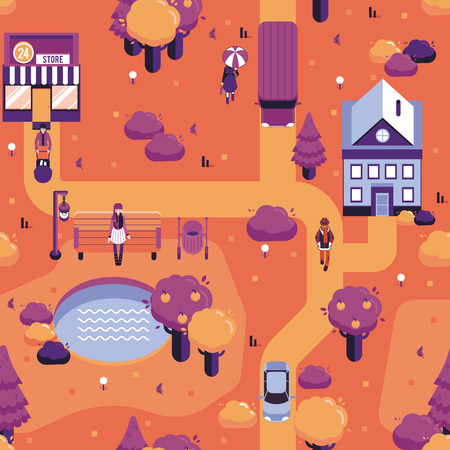 Vector autumn city landscape with people walking on streets within supermarkets in warm cloth, couple sitting at street bench under streetlight. Taxi on road background in orange for game level map