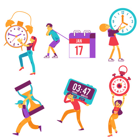 Vector funny characters holding symbols of time management in hands. Cute males, females carry wall clock, calendar planner, hourglass and stopwatch. Men, women managers and deadline symbols.