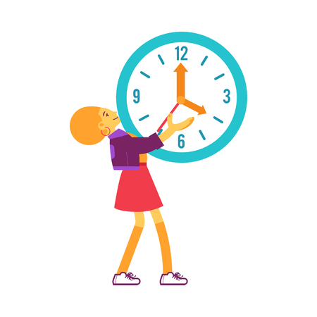 Vector cheerful woman holding big wall clock smiling. Female character and time management symbol. Businesswoman with clock, deadline and delay concept. Isolated illustration