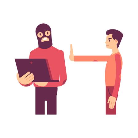 Ilustración de vector de pirata informático tratando de robar información personal de la computadora portátil y el hombre con gesto de parada con la mano en estilo plano aislado en blanco - concepto de datos privados sensibles y seguros.