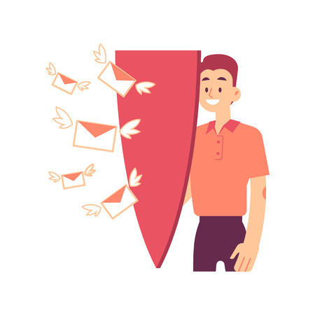 Vector illustration of man with big shield protecting himself from attack of flying mails in envelopes with wings in flat style isolated on white - antispam and personal data protection concept. Illustration