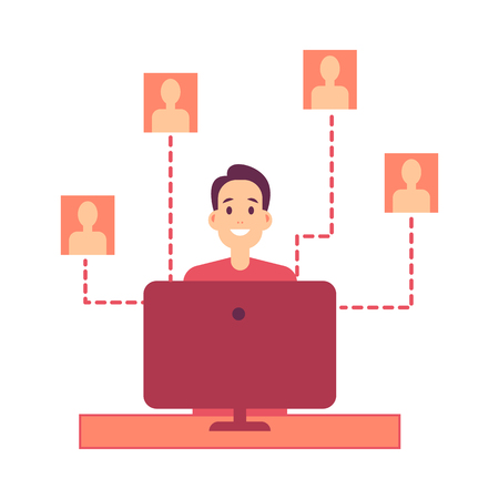 Young man sitting at computer and working with people profiles and personal data in flat style isolated on white background. Vector illustration of male personnel worker. Stock Illustratie