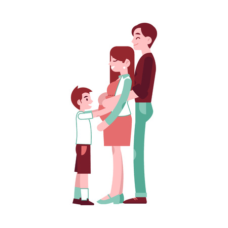 Vector happy pregnant woman with belly, man hugging her with a smile and small boy kid embracing. Adult couple future parents of a baby. Concept of pregnancy and motherhood. Isolated illustration