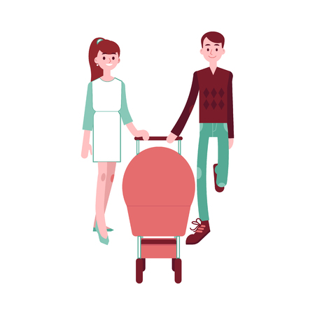 Happy young family couple with baby in pram walking together in flat style isolated on white background - vector illustration of smiling mother and father with newborn in carriage.