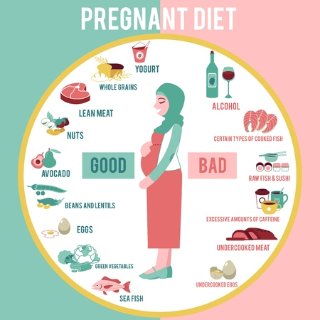 Pregnant woman diet infographic in flat style - vector illustration banner with young muslim girl in hijab with belly and information about healthy and unhealthy food for future mother. 일러스트