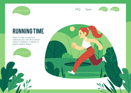 Vector illustration of healthy and sporty lifestyle concept with woman in sportswear running outdoors in trendy flat style on web page template, female character doing cardio training. Vettoriali