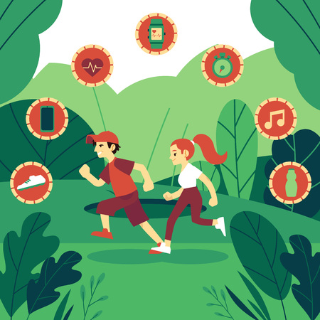Vector illustration of man and woman in sportswear running outdoors on background of green plants and symbols of sport equipment in trendy flat style - healthy and sporty lifestyle concept.