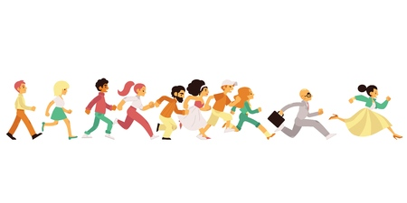 People of different age and gender running in flat style isolated on white background - vector illustration of side view of happy hurrying men and women moving forward fast.