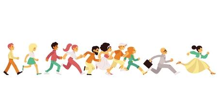 Personnes d'âge et de sexe différents qui courent dans un style plat isolé sur fond blanc - illustration vectorielle de la vue latérale d'hommes et de femmes heureux et pressés qui avancent rapidement.