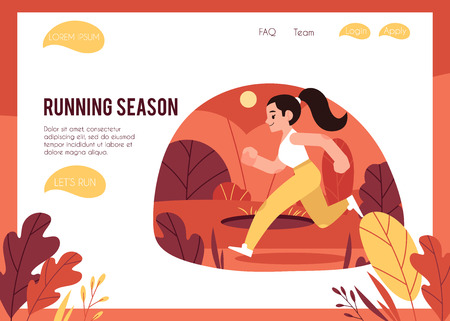 Vector illustration of healthy and active lifestyle concept with woman in sportswear running outdoors in autumn in flat style on web page template. Young girl jogging in fall season. Imagens - 128169653