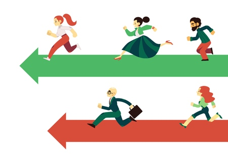 People running along arrows for competition concept in flat style isolated on white background - vector illustration of groups of racing business men and women moving forward to goal achievement.