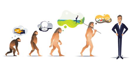 Conjunto de ilustración vectorial de la evolución matutina del hombre desde que se despierta en la cama como mono a través del baño, el deporte y el desayuno hasta un empresario seguro en estilo degradado plano aislado en blanco.