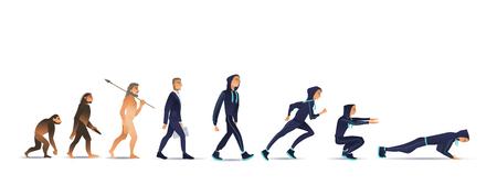 Ilustración de vector de la evolución humana del mono al hombre. Proceso evolutivo aislado plano de cambio y desarrollo del mono a través del empresario en traje al deportista haciendo ejercicios.