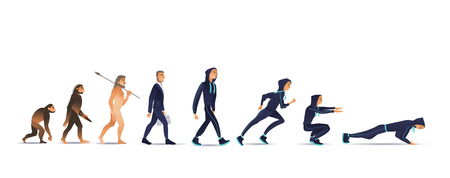 Vector illustration of human evolution from ape to man. Flat isolated evolutionary process of change and development from monkey via businessman in suit to sportsman doing exercises.