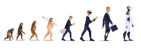 Concetto di evoluzione vettoriale con processo di crescita da scimmia a cyborg e robot con scimmia, uomo delle caverne a uomo d'affari in tuta che indossa auricolare VR, persona con gambe artificiali e creatura robotica. Sviluppo dell'umanità Vettoriali