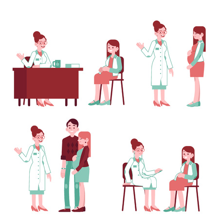 Vector pregnancy, motherhood concept characters set. Pregnant woman with man partner at at gynecologist visit at clinic. Male, female characters at a doctor. Illustration