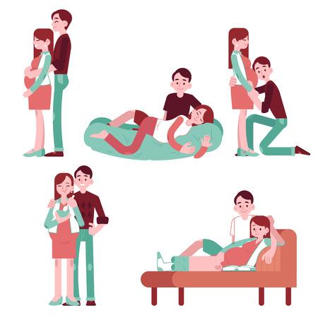 Insieme dell'illustrazione di coppia famiglia felice che aspetta bambino in stile piano - sorridente giovane donna incinta e suo marito in varie situazioni isolate su priorità bassa bianca.