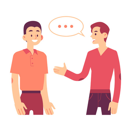Two men communicating vector illustration in flat style - young male characters standing and talking. One person with speech bubble explain something to another isolated on white background.