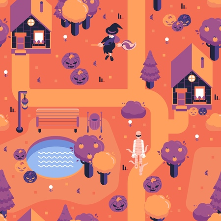 Vector halloween landscape with scary characters for game locations design. Spooky mummy walking on streets within jack o lanterns pumpkins, witch fly on broom