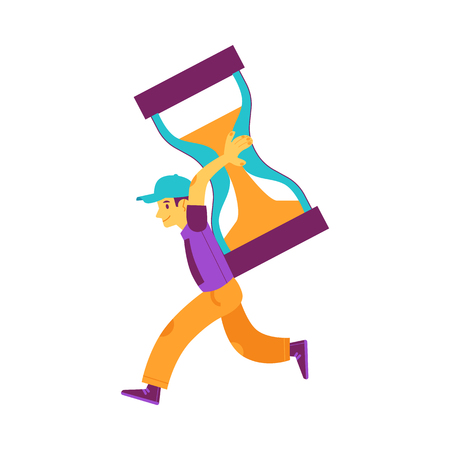 Vector cheerful man holding big hourglass on shoulder running smiling. Male character and time management symbol. Businesswoman with clock, deadline and delay concept. Isolated illustration