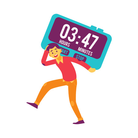 Vector cheerful man holding big digital clock on shoulder running. Male character and time management symbol. Businesswoman with clock, deadline and delay concept. Isolated illustration Ilustrace