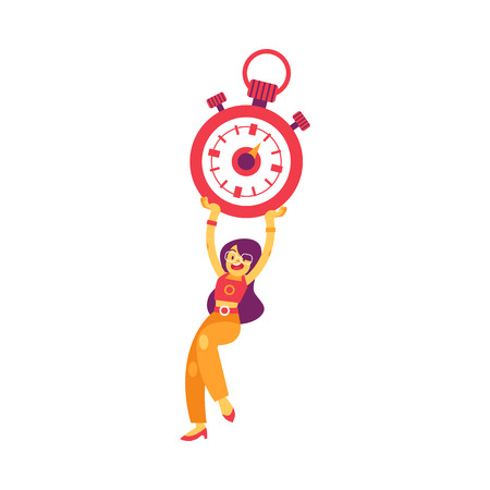 Vector cheerful woman holding big stopwatch above head smiling. Female character and time management symbol. Businesswoman with clock, successful deadline achievement concept. Isolated illustration
