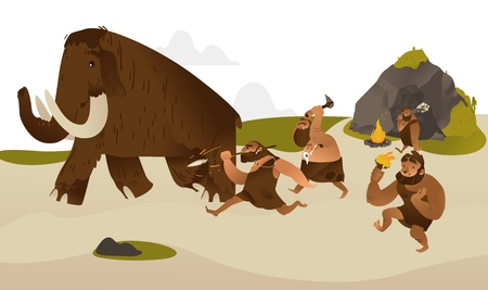 Ancient caveman with prehistoric weapons hunting for mammoth in flat cartoon style - vector illustration of tribe of primitive male characters dressing in animal pelts chasing running prey. Illustration