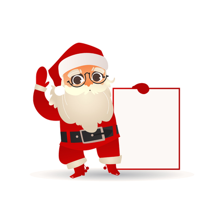 Vector illustration of Santa Claus holding blank placard and waving hand in flat cartoon gradient style - isolated Christmas and New Year template for holiday greeting or promotion design.