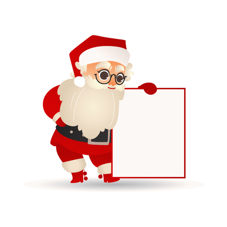 Vector illustration of Santa Claus holding blank placard and looking at it with interest in flat cartoon gradient style - isolated Christmas and New Year template for holiday greeting or promotion. Stockfoto - 128169668