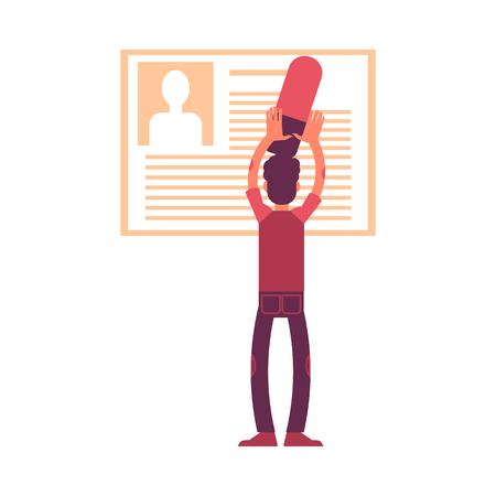Ilustración de vector de hombre con gran borrador eliminando información personal de su perfil o cuenta de red social en estilo plano aislado sobre fondo blanco. RGPD derecho al olvido.