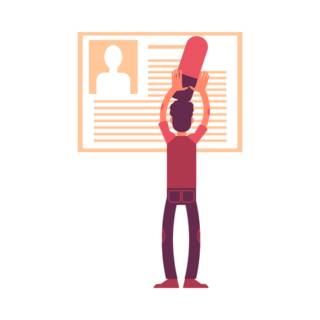 Vector illustration of man with big eraser deleting personal information from his profile or social network account in flat style isolated on white background. GDPR right to be forgotten.