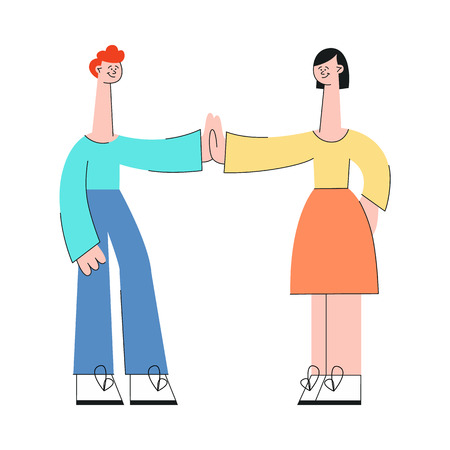 Young people giving each other five in flat style isolated on white background - vector illustration of smiling man and woman doing congratulating with success or greeting gesture.
