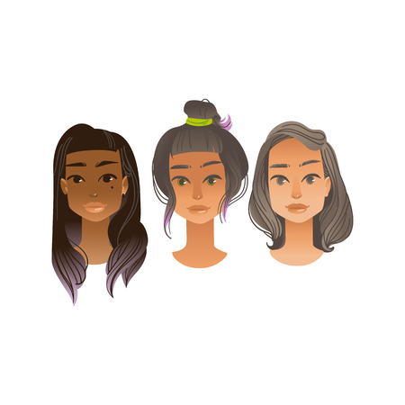 Woman avatar vector illustration set in flat gradient style isolated on white background - various female faces with different hairstyles. Front view of beautiful girls portraits.