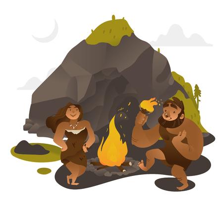 Gente antigua bailando alrededor del fuego cerca de la roca en la edad de piedra en estilo plano aislado sobre fondo blanco - ilustración vectorial de hombre y mujer prehistóricos vistiéndose con pieles de animales cerca de la cueva.