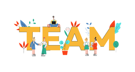 Vector illustration of Team text design with business people working and discussing themes together near big letters in flat style isolated on white background - concept of effective teamwork. Illustration