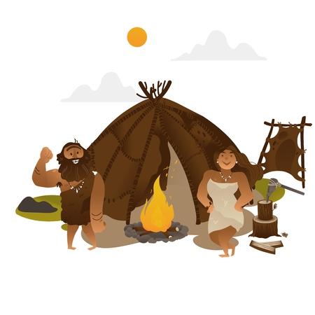 Gente antigua de pie junto a la antorcha con chimenea en la edad de piedra en estilo plano aislado sobre fondo blanco. Ilustración de vector de hombre y mujer de las cavernas prehistóricas vestirse con pieles de animales.